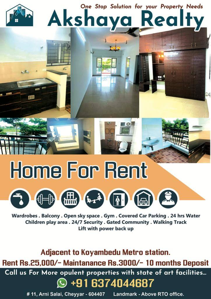 2 BHK Apartment / Flat for Rent 1100 Sq. Feet at Chennai