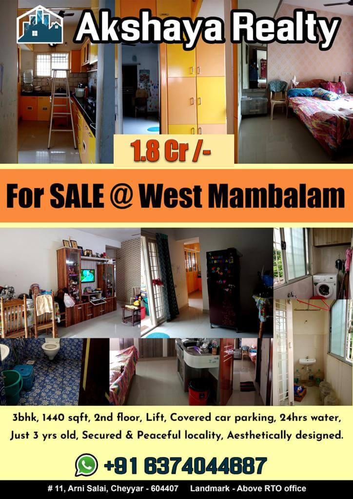 3 BHK Apartment / Flat for Sale 1440 Sq. Feet at Chennai, Mambalam
