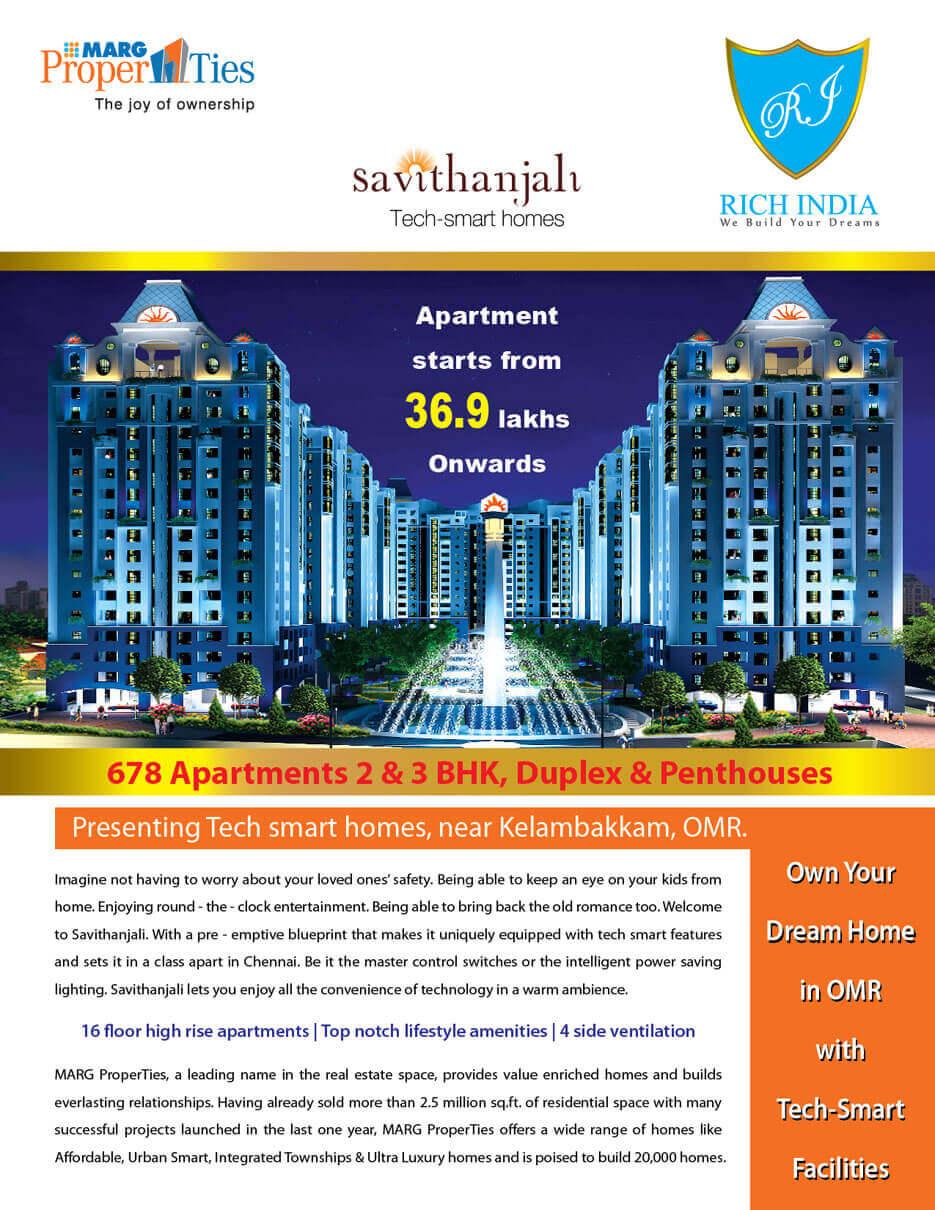 Smart Hi-tech 1/2/3 BHK Savithanjali Apartments at Rs.19.06 Lac Onwards at Old Mahabalipuram Road, Chennai.